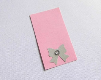Pendant gift tags with Ribbon pink grey glitter gifts of wedding decoration of wedding place cards