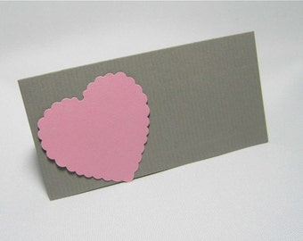 Table cards place cards badge heart wedding decor name cards wedding badges paper grey white pink chamois