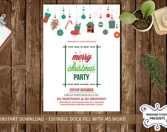 Merry Christmas Party Flyer | Merry Christmas Flyer | Merry Christmas Invitation | MS Word, Photoshop & Elements Template - INSTANT DOWNLOAD