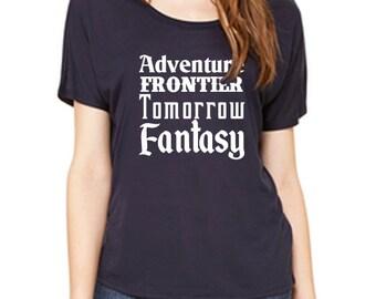 Disney Shirts Ladies Slouchy Tee Disney Lands Shirt Disneyland Shirt Disney World Shirt  Magic Kingdom Shirt Disney Cruise Shirt