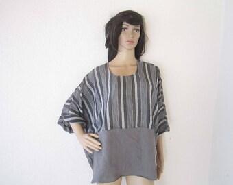 Vintage 80s tunic Shirt linen lined Julia oversize