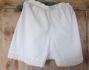 PR antique French handmade white cotton and lacy cami knickers panties under wear c1920's
