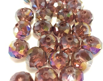 10mm AB Coated Rondelle Amethyst Crystals 24pc