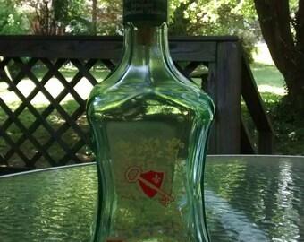 Old Fitzgerald Kentucky bond bourbon decanter hospitality bottle blue glass decanter aqua glass bourbon bottle