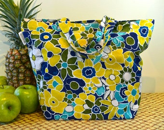 Hawaiian Print Shopping Bag in Navy Blue with Green Yellow and Teal Flowers, Summertime Colors Flower Print Market Bag, Folding Cotton Tote