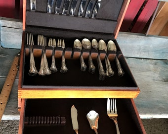 Sterling Chantilly Flatware by Gorham |  59 Pieces & Wooden Dovetail Chest