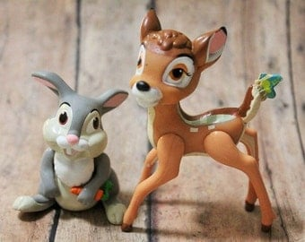 Bambi and Thumper set-Disney McDonald toys-Bambi toys-Vintage disney-Vintage McDonalds-1988 Happy Meal toys