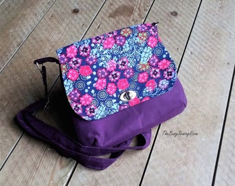 Crossbody Bag, Messenger Bag, Adjustable Strap, Twist Lock, Gift for Her, Navy Blue Corduroy with Bright Flowers & Pink Polyester