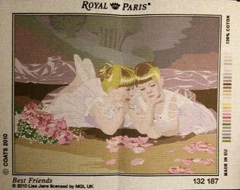 """Royal Paris white canvas """"Best Friends"""" of lisa Jane best friends, girls 132 187 47 cm x 37 cm"""