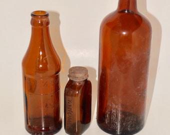 Old brown glass bottles,measuring glass,whitehall,amber glass bottle set,set of 3,
