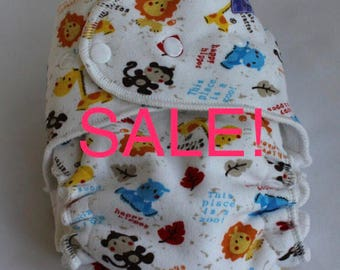 Cloth Diaper One Size Fitted Diaper, Zoo Animals - Bamboo Fleece, One size OS Velour Cloth Baby Diaper