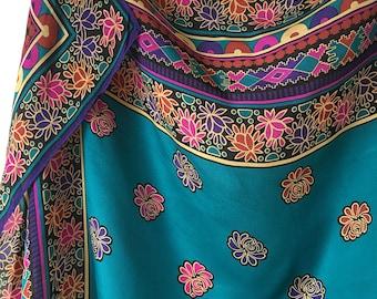 "Turquoise silk scarf Ethnic Morocco motive design Florals Tile mosaic Brilliant jewel colors headscarf neck scarf 31 "" square"