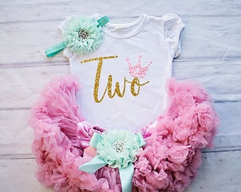Second Birthday Outfit, 2nd Birthday Outfit Girl, Birthday Shirt 2, 2nd Birthday Shirt, Second Birthday Shirt, Mint and Pink Birthday Outfit