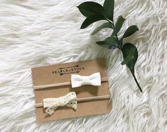White Peony & Vintage Lace Bow Set