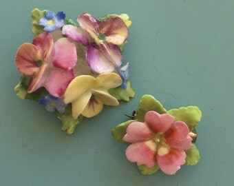 2pc Lovely Vintage Signed Artone  Flower Brooches .