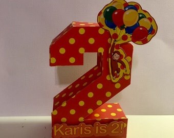 Curious George Inspired Number/ tabletop number decor/ number prop