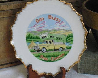 God Bless our Camper, Vintage Travel Plate, Artmark, Camper Decor, Camping Kitsch, Campers Prayer, Collectible Souvenir Plate, Wall Hanging