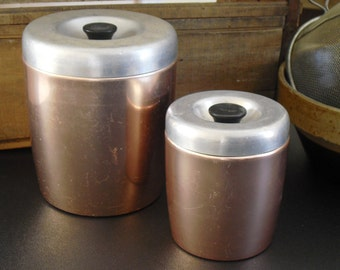 Vintage Silver Copper West Bend Nesting Canisters, Two Tone, Storage Container for Campers, Rustic Kitchen Decor, Country, Farmhouse Chic
