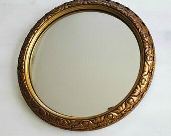 Vintage Convex Mirror//Fish Eye Mirror//Ornate Gilt Frame