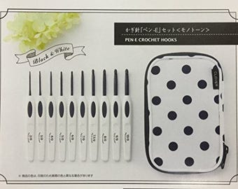 New!! Knitting Needle crochet hook case storage, plus 10 crochet hooks  by Clover monotone pen-E /// a limited edition
