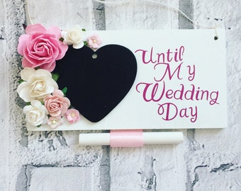 Floral Wedding countdown plaque// engagement gift// wedding planning