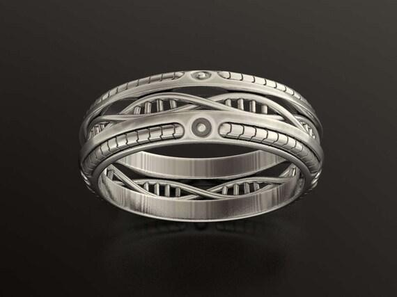 DNA Wedding Ring Geek Braided Mens Science Biology Nerd Sci Fi Unique