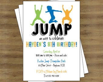 Jump Party Invitation; Trampoline Party Invitation; Trampoline Invitation; Trampoline Birthday Invitations; Jump Birthday Invitation