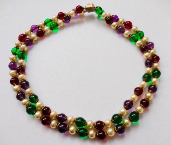 """Vintage """"pate de verre"""" necklace / collier, multicolor necklace with pearl, red, violet, green glass beads"""