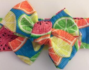 Fruit Head Wrap, Summer Head Wrap, watermelon head wrap, citrus head wrap, girl head wrap, newborn-toddler, girly accessories