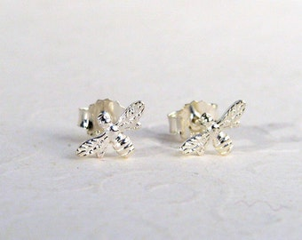Bee earrings 925 sterling silver, small insects ear studs, tiny bee ear studs