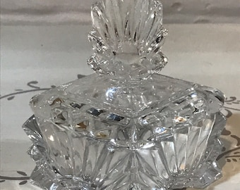 Vintage french glass dressing table pot