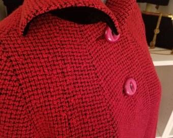Clean, Vintage, 1940's, Harrismoor, Wool, Red, Black, Houndstooth, Tweed, Velvet Collar, Coat