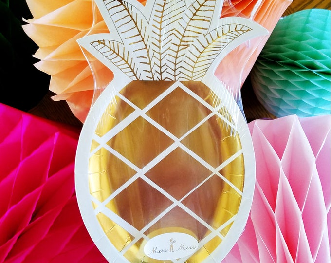 Gold Pineapple Paper Plates
