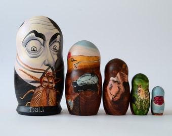 Salvador Dali  stacking dolls, matryoshka nesting doll,  babushka dolls set of 5 pcs, Handmade, Free Shipping