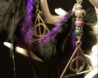 Pearl Earrings Fandom Deathly Hallows - feathers - charms - glass - halloween - Deathly Hallows