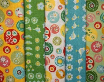 Hideaway by Lauren and Jessi Jung for Moda Fabrics - Eighth Yard Bundle - 5 pieces