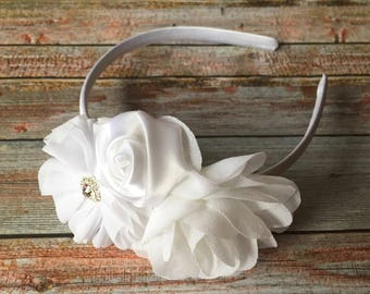 White Flower First Communion Headband/1st Communion Headband/Baptism Headband/Christening Headband/Flower Girl Headband/Wedding Headband