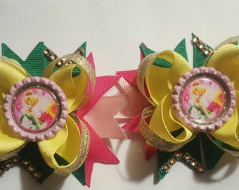 Tinker Bell girls hair bows.  Set of 2