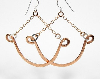 Wendy Bronze with Sterling Silver Dangle Chain Earrings