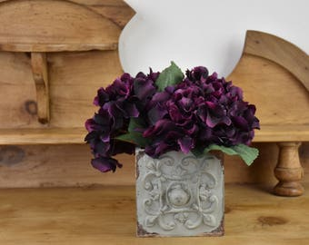 Purple hydrangeas, purple flowers, housewarming gift, artificial hydrangeas, silk flowers, floral display, floral arrangement, home decor
