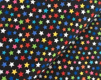 Multicolor Stars on Black Background Cotton Fabric from the Basic Brights Collection by Windham Fabrics