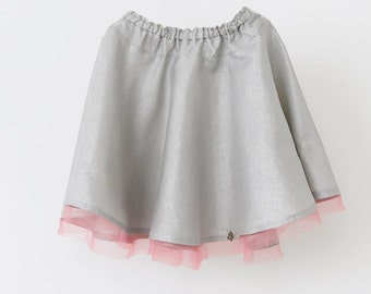 Linen skirt for girl, Girls skirt, Grey skirt