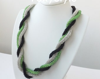 green black white necklace modern necklace gift for birthday gift for women mother jewelry everyday necklace gift for sister beaded necklace