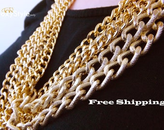 gold chain necklace modern jewelry gift layering necklace hip hop necklace statement necklace bling necklace charm necklace golden necklace