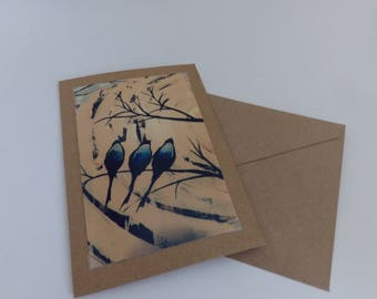 Greeting Cards, Birds on a Branch, Three Birds, Set of 3 Cards, Blank Greeting Cards, Just Because, Thank you, Thinking of You, Friendship