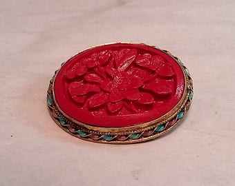 Vintage Chinese Silver Brooch Carved Red Cinnabar Stone, Blue Enameling