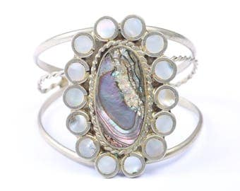 Mexican Silver Metal Cuff Bracelet with Mother of Pearl