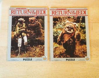 Vintage Star Wars Puzzles Return of the Jedi Princess Leia Wicket Ewok Frame Tray Puzzle 1983 Lucasfilm LTD Carrie Fisher Movie Memorabilia