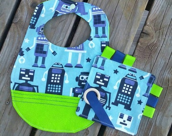 Green and Blue Baby Toddler Robot Bib with Pocket and Taggy Toy with Wooden Teething Ring Gift Set