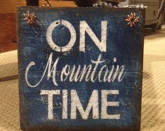 Rustic Barnwood Mountain/Adventure Sign